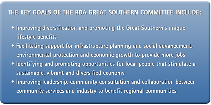 The Key Goals of the RDA Great Southern Committee